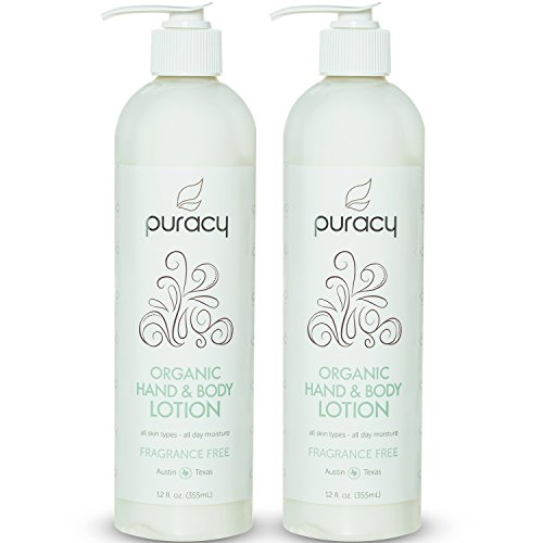 Puracy Organic Hand and Body Lotion, Lightweight Natural Moisturizer for All Skin Types, Developed by Doctors, Fragrance Free, 12 Ounce Pump Bottle (Set of 2)