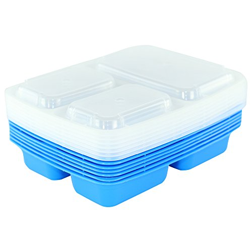Price comparison product image Simply Life [7 Pack] 3 Compartment Meal Prep Containers (Blue)
