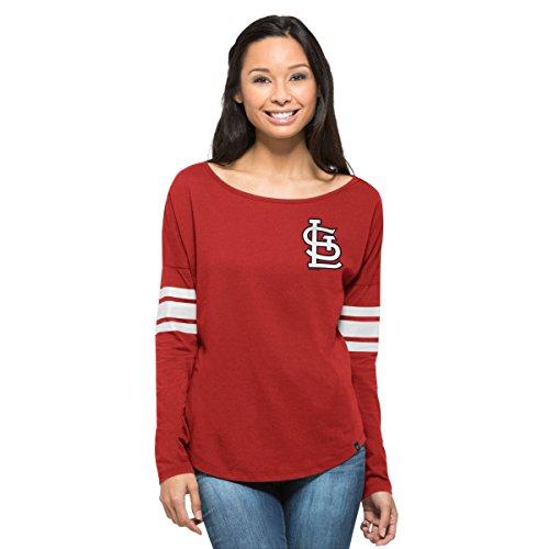 MLB St. Louis Cardinals Women's '47 Ultra Courtside Long Sleeve Tee, Small, Rebound Red (Louis Cardinals Long Sleeve)
