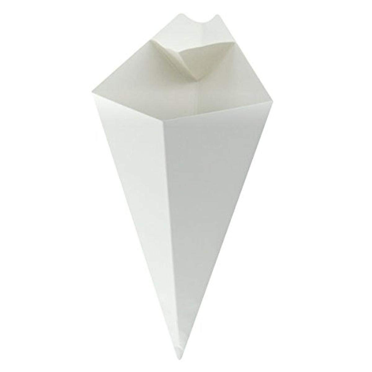 White Paper Cones with Dipping Sauce Compartment (Case of 25), PacknWood - Disposable Appetizer Food Cups (6.57