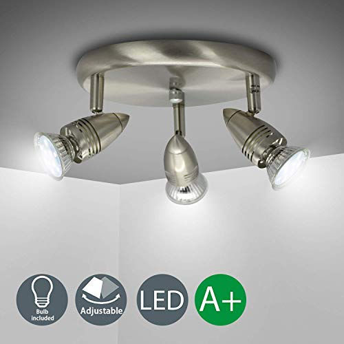 Multi 3 Light - DLLT Flushmount Ceiling Track Lighting Kits-3 Light Multi-Directional Ceiling Spot Lights Fixture with GU10 Bulbs for Kitchen Living Room Bedroom Hallway, Warm White Nickel Steel