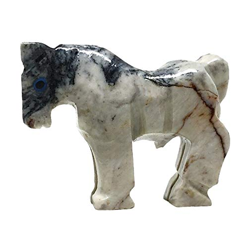 Nelson Creations, LLC Horse Natural Soapstone Hand-Carved Animal Charm Totem Stone Carving Figurine, 1.5 Inch (Stone Horse)