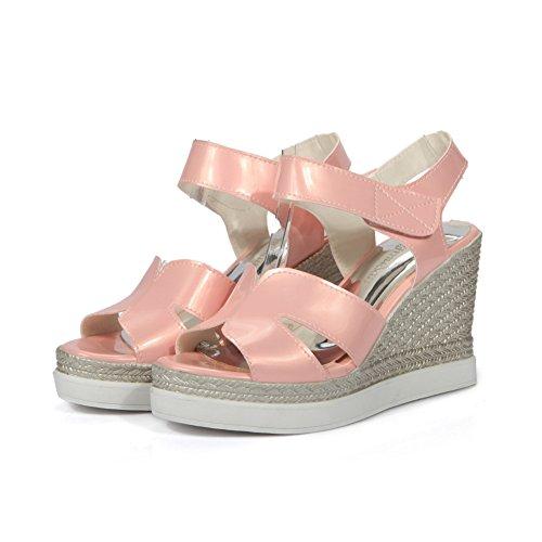 BalaMasa Womens Sandals Peep-Toe Cushioning Smooth Leather Road Outdoor Sandals ASL04689 Pink K6rGoSRvZA
