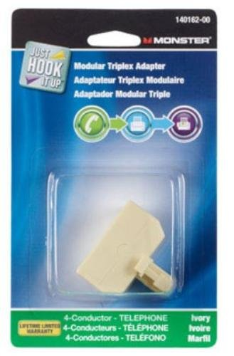 Monster Cable Triplex Adapter Modular 4 Conductor Ivory Carded