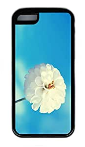 iPhone 5C Case, Personalized Protective Rubber Soft TPU Black Edge Case for iphone 5C - Blue Sky White Flower Cover