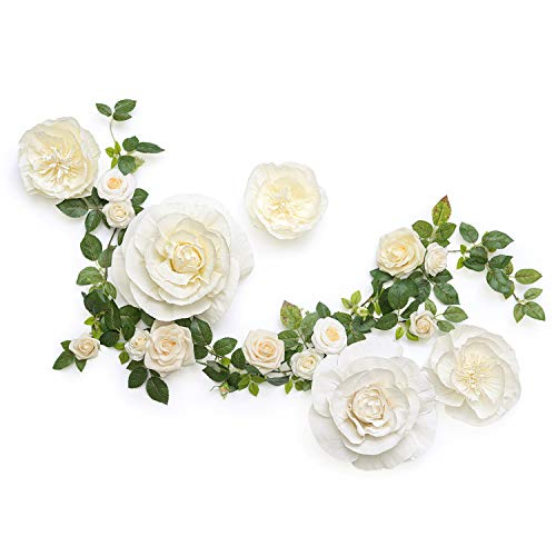 Ling's moment Handcrafted Large Crepe Paper Flowers(5pcs) & 11 Heads Artificial Cream Rose Greenery Garland, Flower Table Runner for Wall Baby Nursery Party Wedding Centerpiece Backdrop Photo Booth