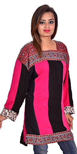 Indian-100-Cotton-Pink-Black-Color-Top-Kurta-Tunic-Kurti-plus-size-Paislay-Print-Women-Ethnic-Patch-Work