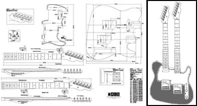 amazon.com: plan of telecaster double-neck electric guitar - full scale  print: musical instruments  amazon.com