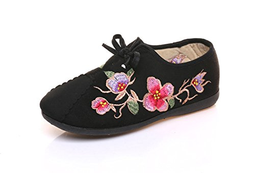 AvaCostume Womens Butterfly Flower Embroidery Lace-up Loafer Shoes Black lfEZoNmsjg