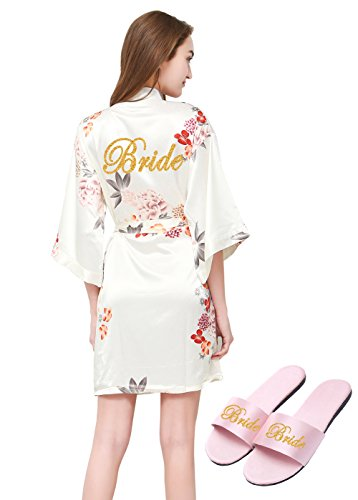 Slippers Satin Bridal (PROGULOVER Women's Satin Floral Kimono Robe for Bride Bridesmaid with Gold Glitter Wedding Party Spa Robe with Pocket and Free Slippers)