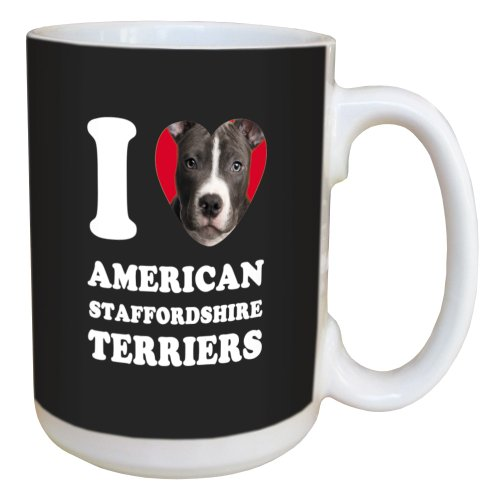 Tree Free Greetings LM44994 I Heart American Staffordshire Terriers Ceramic Mug with Full-Sized Handle, 15-Ounce, Black and White