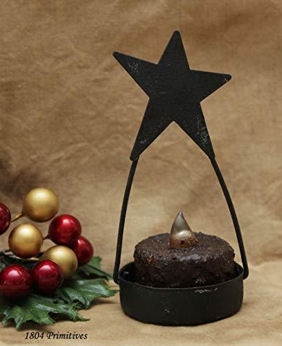 (Primitive & Country Style ~ Primitive Star Tea Light Holder w/Brnt Mustard Tea Light ~ Rustic Home Decor)