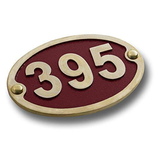 (House Number Address Plaque Traditional Oval Style Small. Cast Metal Personalised Yard Or Mailbox Sign with Oodles of Color, Number and Letter Options. Handmade in England by The Metal Foundry)