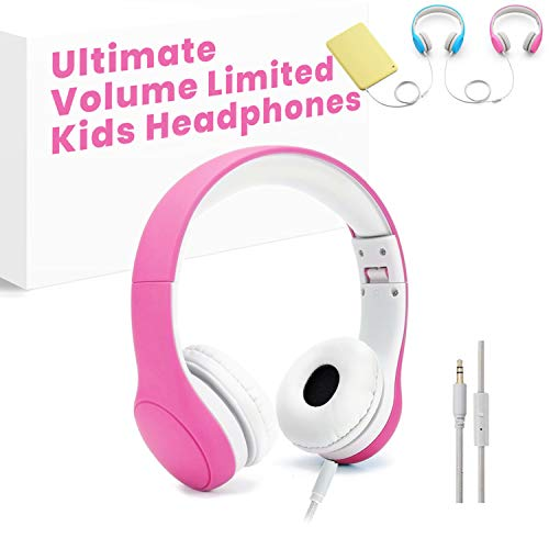 [Volume Limited] KPTEC Kids Safety Foldable On-Ear Headphones with Mic, Volume Controlled at Max 93dB to Prevent Noise-induced Hearing Loss (NIHL), Passive Noise Reduction, Wired Earbuds,Pink