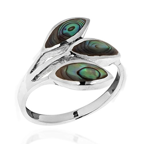 (AeraVida Tropical Rainbow Abalone Shell Leaf Wrap .925 Sterling Silver Ring (8) )