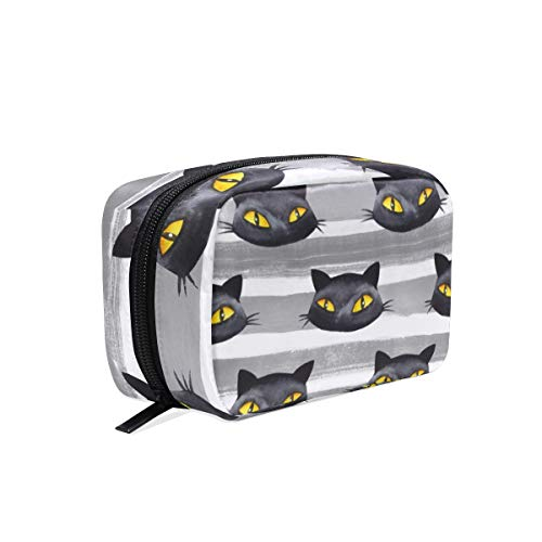 MAHU Halloween Black Cat Stripe, Makeup Bag Travel Cosmetic Bag Women Toiletry Brushes Pouch Storage Bag Zipper Organizer Square Portable Holder Tool Case -