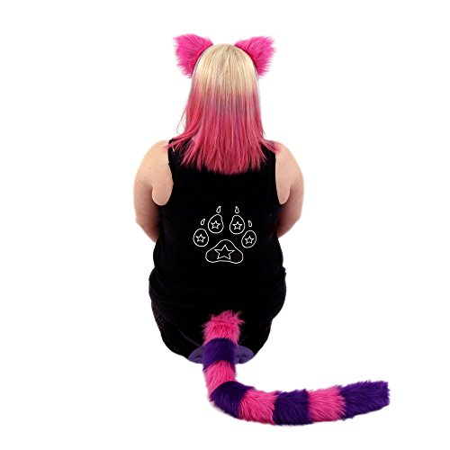 Pawstar Cheshire Cat Costume Furry Ear and Tail Combo - Classic