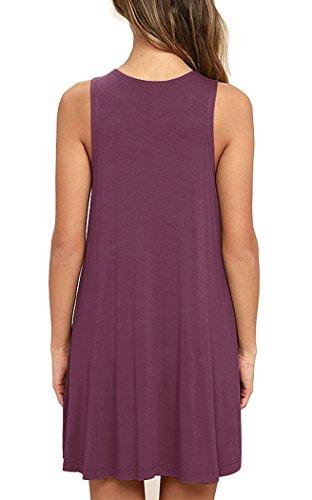 Dress Shirt Mauve 02sleeveless Casual Pockets Sleeveless Women's Dresses Viishow T Swing tq0Uz