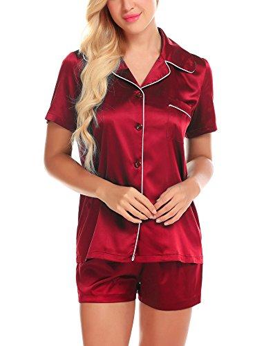 (Red Pajamas Set for Women Satin Sleep Pj Exotic Sleepwear Lounging Pyjama Wine M)