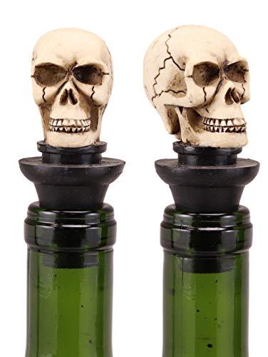 Ebros Gift Set of 2 Skeleton Cranium Bone Skull Wine Bottle Stoppers 3