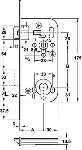 PZ Grundmann Zylinder-Schloss 320RG /Ö-Norm Profilzylinder 88 mm Gedotec WG Einstemmschloss Zimmert/ür Einsteckschloss mit Kunststoff-Falle 1 St/ück Baubeschl/äge mit Rundstulp 18 mm