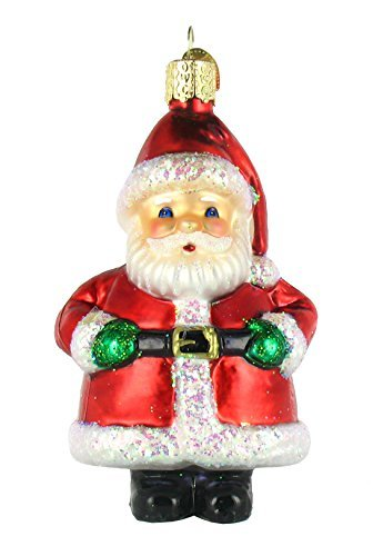 Old World Christmas Ornaments: Assortment of Santas Glass Blown Ornaments for Christmas Tree, Short Stuff Santa (Glass Ornaments Claus Santa)