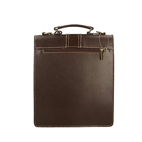 Chicca hombro cm Piel de de genuina in Italy maletines 27x32x10 bolso Oscuro Marrón Pequeño Borse Made en Organizador R0xqZRr