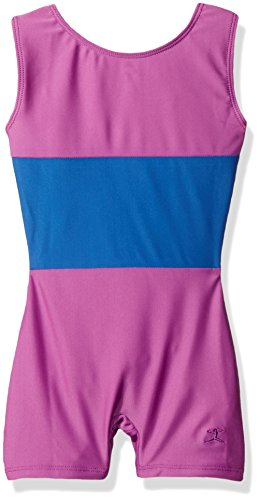Danskin Big Girls' Gymnastics Unitard, Blue Stripe, Medium (8/10)