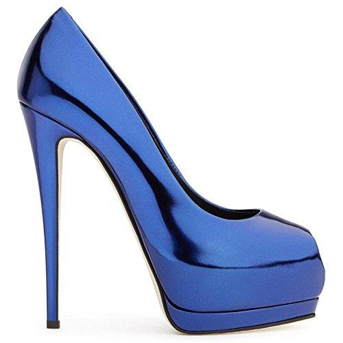 L@YC Frauen High Heels Fisch Mund GroßE Yards Wasserdichte Plattform Elegant Peep Toe Fine Mit Schuhen Blue