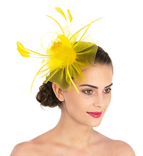 (Lucky Leaf Women Girl Fascinators Hair Clip Hairpin Hat Feather Cocktail Wedding Tea Party Hat (7-Yellow))