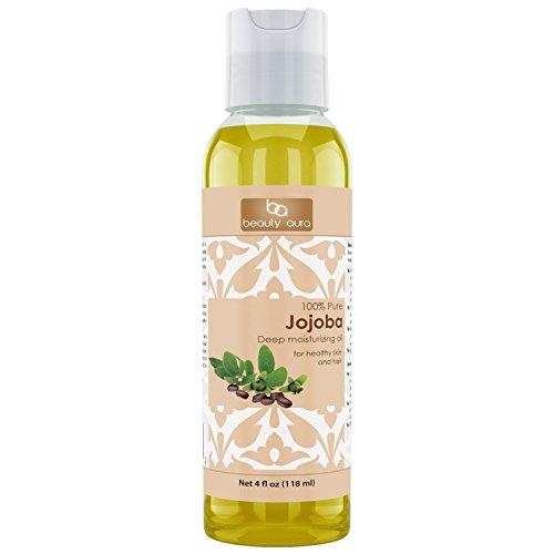 Beauty Aura 100% Pure Organic Jojoba Oil Cold Pressed, 4 Fluid Ounce