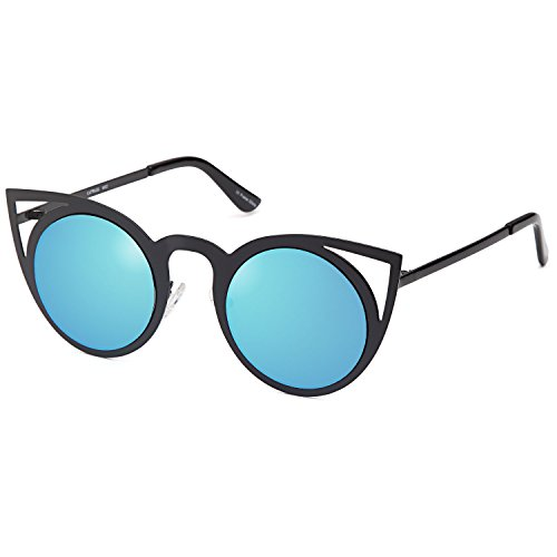 (CATWALK Sunglasses for Women - UV400 Fashion CatEye Womens Sunglasses - Mirror Blue Lens on Black Frame)