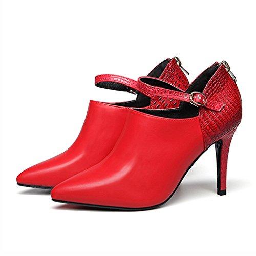 Zapatos para mujer HWF Zapatos de Tacón de Aguja Acentuados Primavera Solo Zapatos de Trabajo de Boda roja (Color : Rojo, Tamaño : 36) Rojo