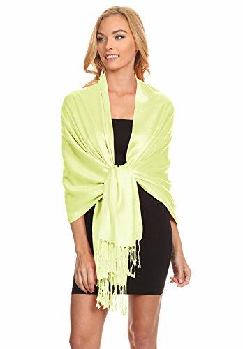 Simlu Womens Scarfs Silky Pashmina Shawl Wrap Scarves for Women Stole Shawls (Size One Size, Key Lime)