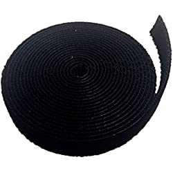 Aerfas Cable Tie, 3/4-Inch Black Roll Fastening Tape Roll Hook & Loop Sticky Cable Cord Wire Tie Strap Tape (5 Yards)