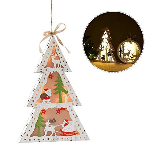 Wooden Glowing Luminous Christmas Tree Lights Decoration Christmas Tree Hanging Ornament Christmas Tree Elk Five-Pointed Star Snowman Pattern Ornament Christmas Gift