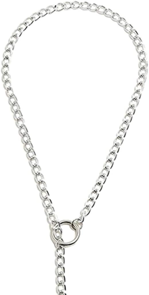 Esquirla Unisex Fashion Metal Chain Necklace Loop Buckle Clasp Rould Ball Tip Pendant
