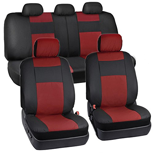 BDK EasyFit Poly-Vinyl Front Seat Covers Full Combo Set (2 Front 1 Rear) - Easy Install Updated Design - Wine Red
