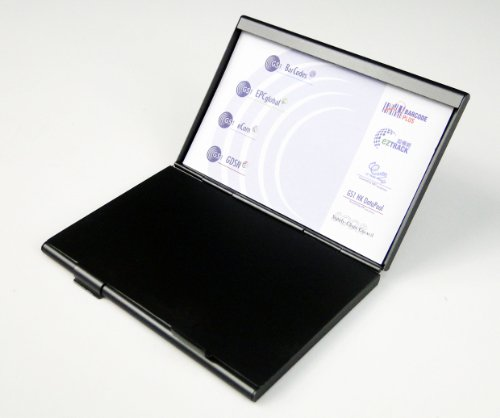 Dual compartment business name card holder black case in for Business card holder multiple compartments
