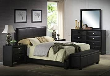 ireland queen faux leather bed black - Leather Bed Frame