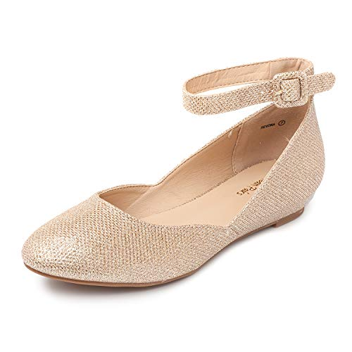 DREAM PAIRS Women's Revona Gold Glitter Low Wedge Ankle Strap Flats Shoes - 5.5 B(M) US ()