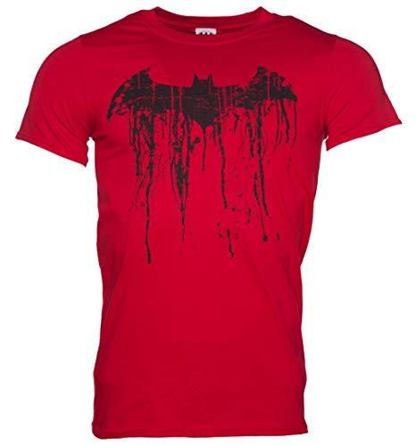 Mens Red Batman Graffiti Logo T Shirt - Superhero and Villain -