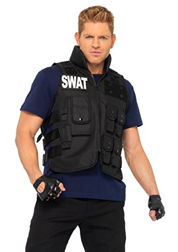 Leg Avenue Men's 4 Piece SWAT Costume, Black, One Size