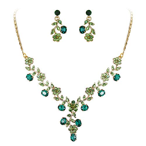 Flower Shaped Gold Set Jewelry - EVER FAITH Flower Leaf Necklace Earrings Set Austrian Crystal Gold-Tone - Green