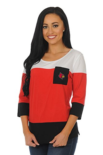NCAA Louisville Cardinals Adult Women Colorblock Top, Large, Red/Black