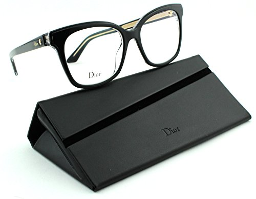 Christian Dior Cd Eyeglasses Frame (Dior Montaigne 37 Women Rectangular Eyeglasses (Black Crystal Frame(0G99),)