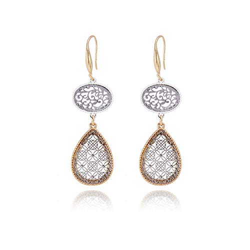 Allison Rose Atelier Two Tone Moroccan round Tear drop Dangle Filigree Boho Earrings - Fish Hook Closure - Lightweight and Comfortable - Women Fashion Earrings - For Every day and Special Occasion
