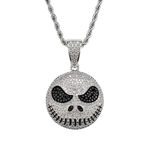 Metal Color: Silver Color, Length: 20inch Davitu Bling Bling Hip Hop Creepy Emoji Fan Pendant Copper Micro Pave with CZ Stones Necklace Jewelry for Men CN029