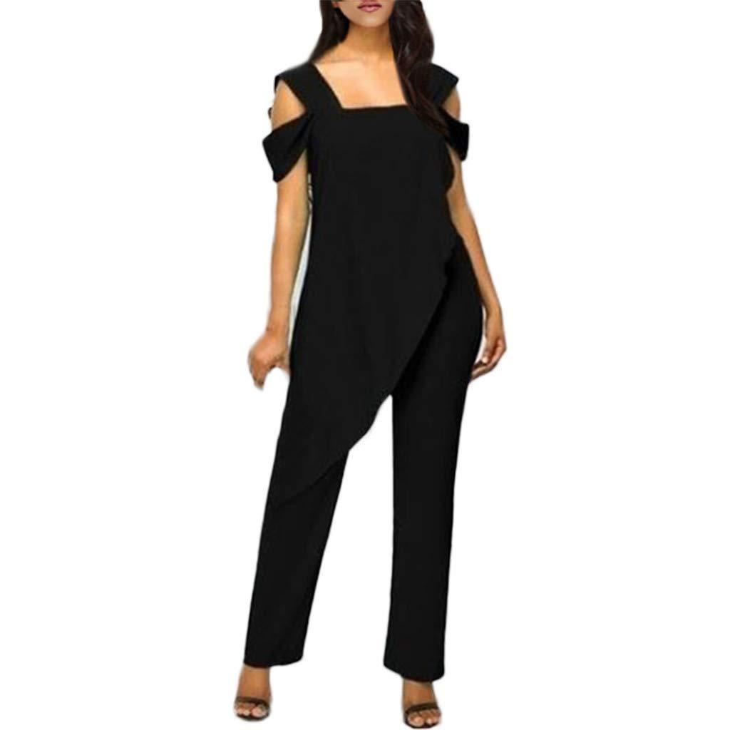 iCJJL Womens Elegant Cold Shoulder Sleeveless Irregular Hem Casual Loose Solid Wide Leg Long Pants Jumpsuits Rompers