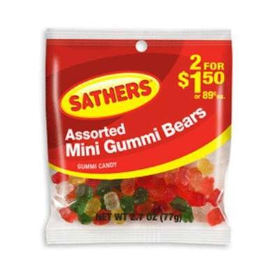 Sathers Mini Assorted Gummi Bears Candy, 2.7 Ounce -- 12 per case.